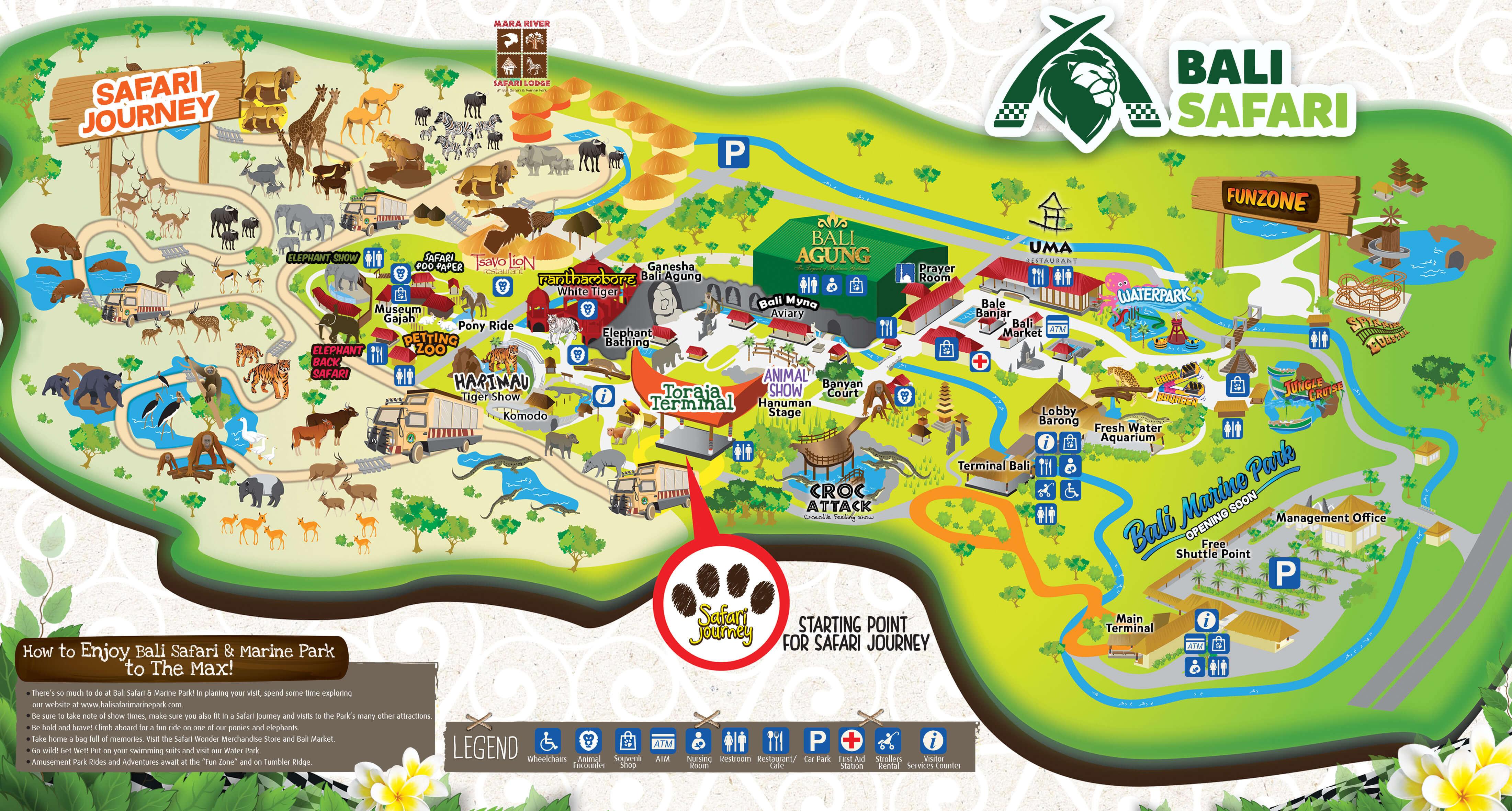 Park Map Information Bali Safari Park